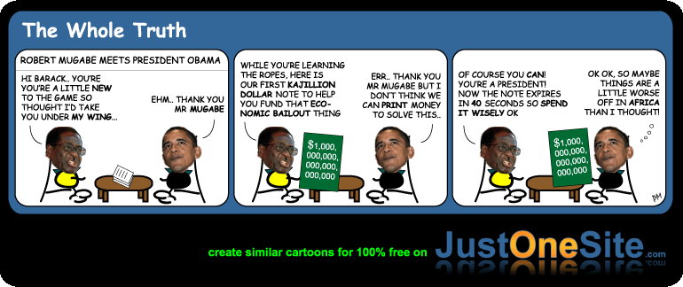 Mugabe proposes global financial crisis solution cartoon