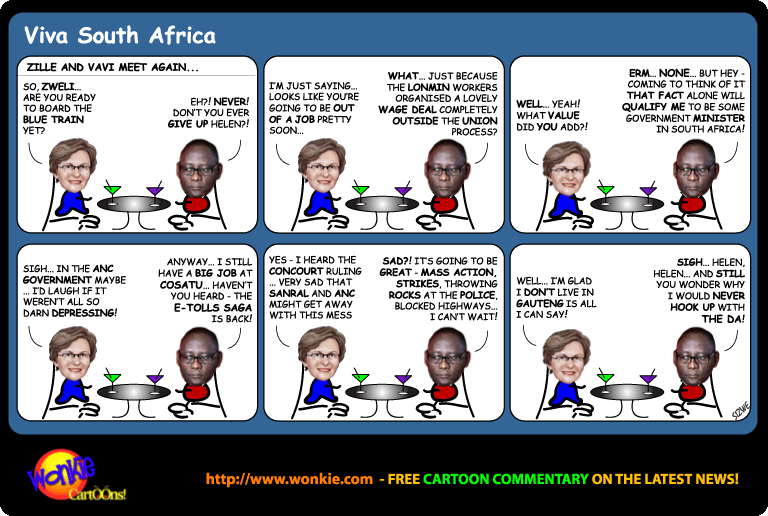 E-Tolls are Back – Can Cosatu save Gauteng? cartoon