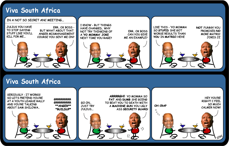 Wonkie cartoon - Zuma coaches Malema on Anger Management