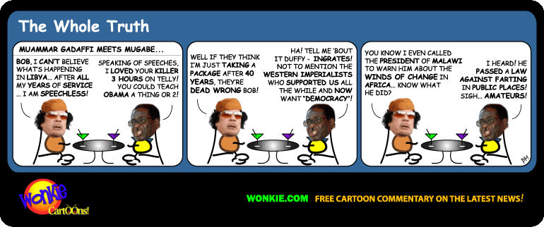 Muammar Gaddafi and Robert Mugabe discuss the Islamic Revolutions