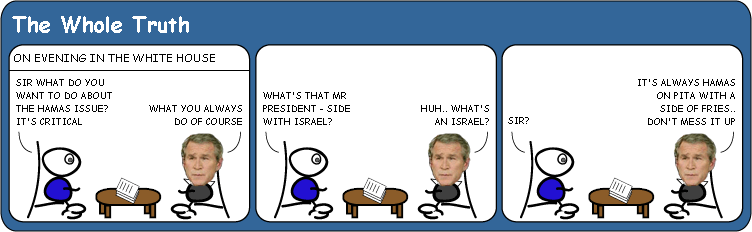 Bush ponders the Hamas issue cartoon