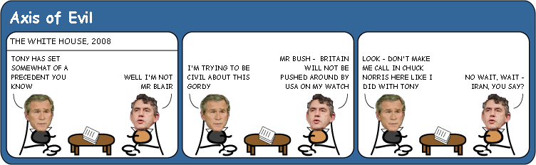 George Bush and Gordon Browns first meeting Cartoon