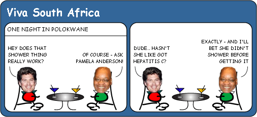 Jacob Zuma meets The Hoff cartoon
