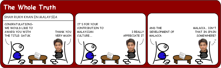 SRK receives Malaysian award cartoon