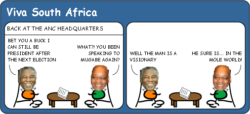 Thabo Mbeki listens to Robert Mugabe cartoon