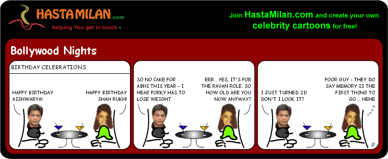 Aishwarya and SRKs birthdays cartoon