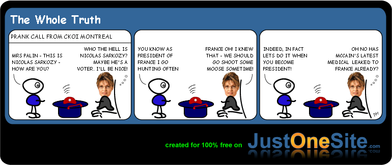 Palin chats to Sarkozy cartoon