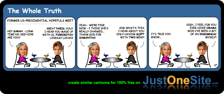 Paris Hilton 2 men cartoon