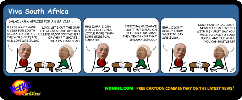 Dalai Lama refused SA visa cartoon