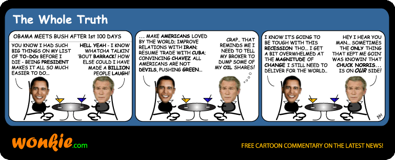 Obama first 100 days Bush cartoon