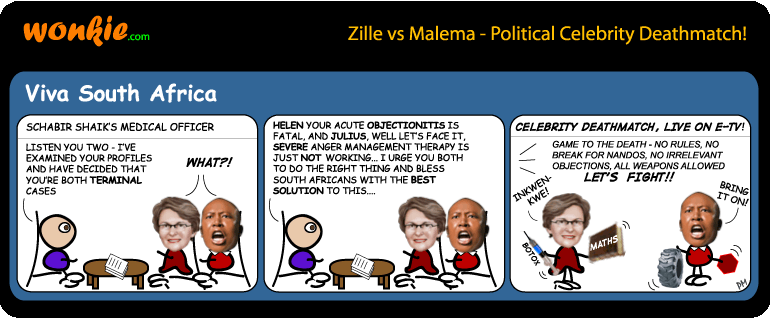 Zille vs Malema - celebrity deathmatch cartoon