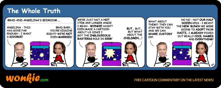 Brad Pitt Jolie split cartoon