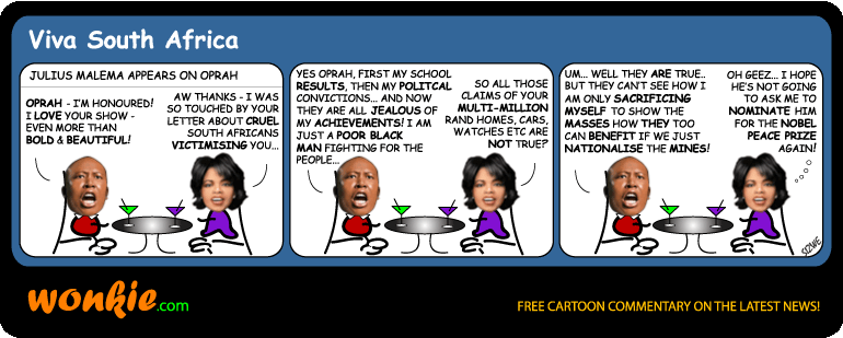 Rich Julius Malema Oprah cartoon