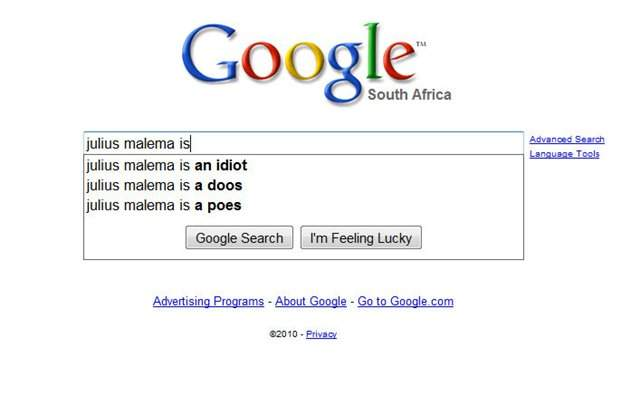 Julius Malema on google search photo
