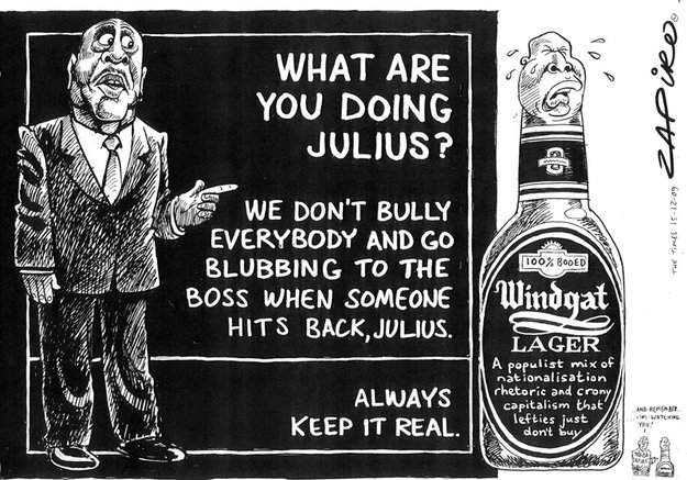 Julius Malema windgat lager Zapiro cartoon