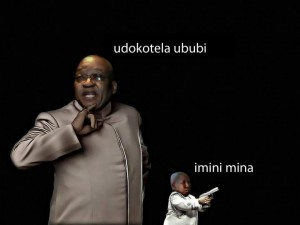 Malema mini-me with Zuma photo