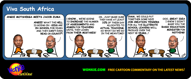 Education literacy South Africa cartoon