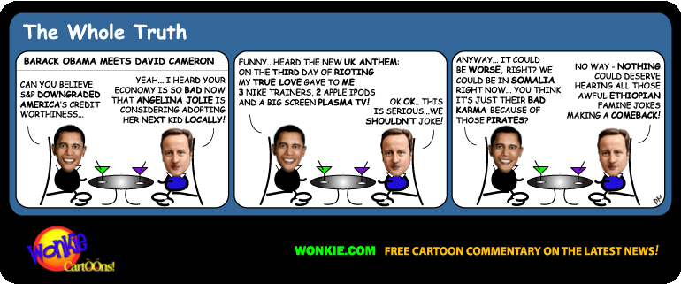 US credit rating UK riot cartoon
