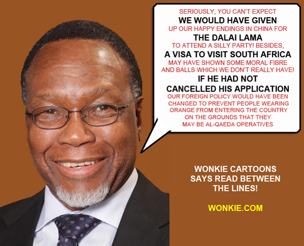 Kgalema Motlanthe on Dalai Lama visa large cartoon photo