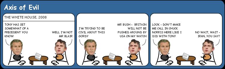 George Bush and Gordon Browns first meeting Cartoon