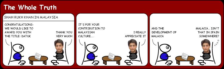 SRK receives Malaysian award cartoon