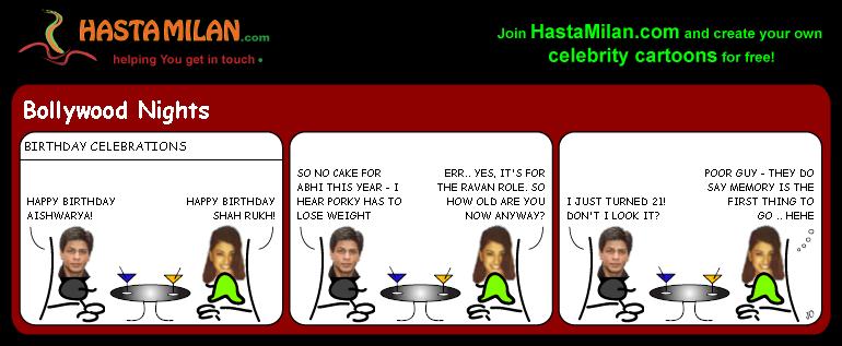 Aishwarya and SRKs birthdays cartoon