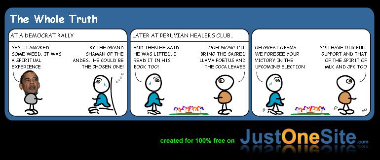 Peruvian healers support Obama cartoon