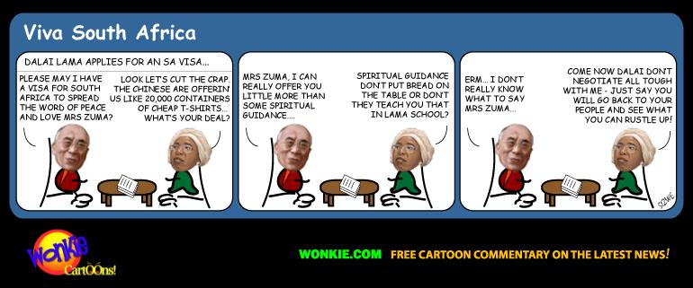 Dalai Lama refused SA visa cartoon