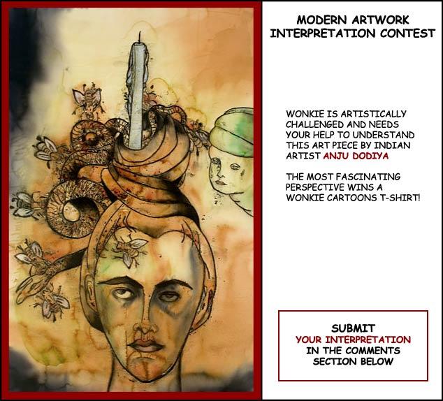 Anju Dodiya art interpretation cartoon