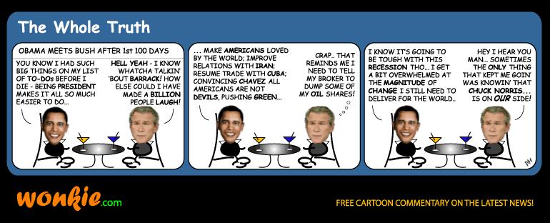 Obama first 100 days Bush cartoon