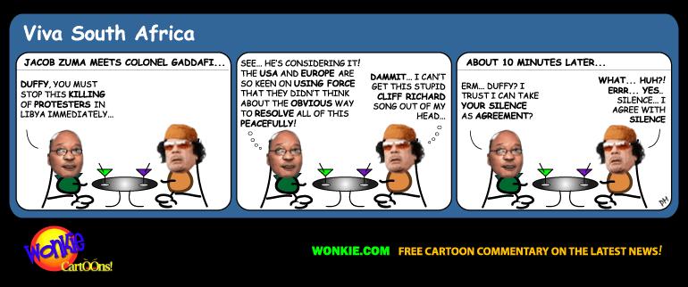 Zuma on Libya Gaddafi cartoon