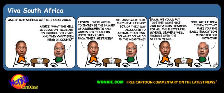 Education literacy South Africa cartoon